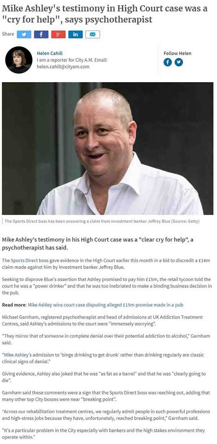 CityAM - UKAT's Michael Garnham on Mike Ashley's Immensely Worrying Court Admissions