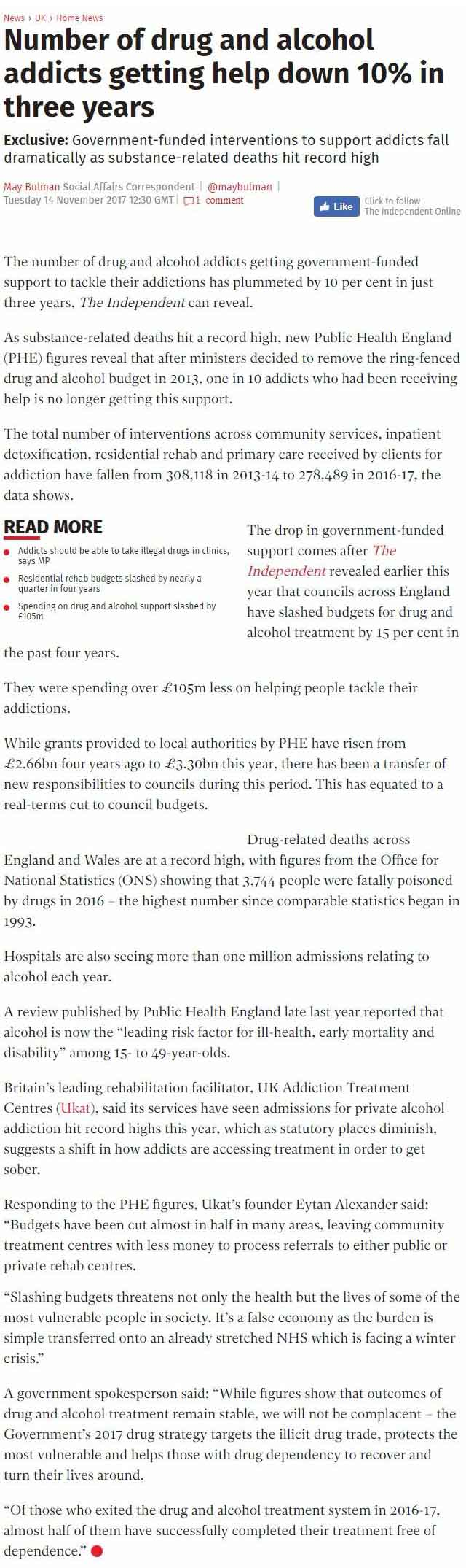 The Independent - UKAT's Eytan Alexander Says Government Shouldn't Have Cut Budgets for Addiction Help