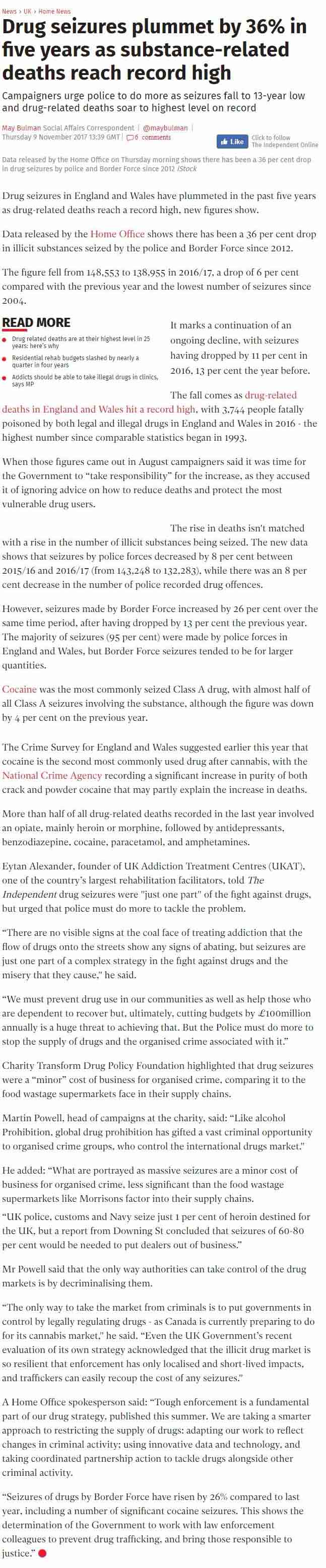 The Independent - We Must Prevent Drug Use in the Communities