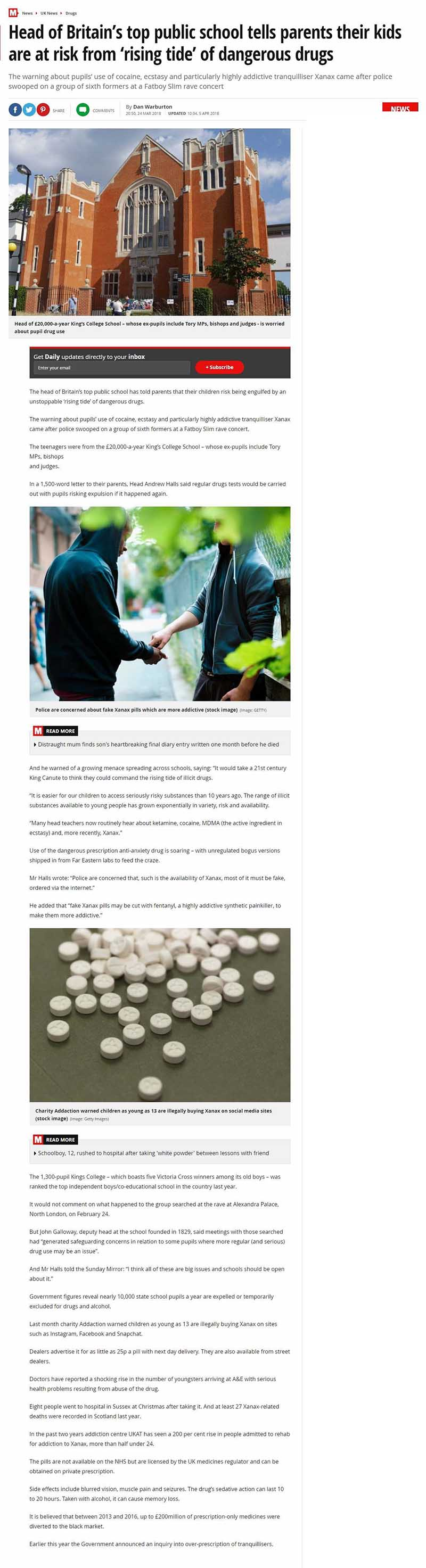 The Mirror - UKAT Records a 200 Percent Rise in Xanax Addiction Admissions