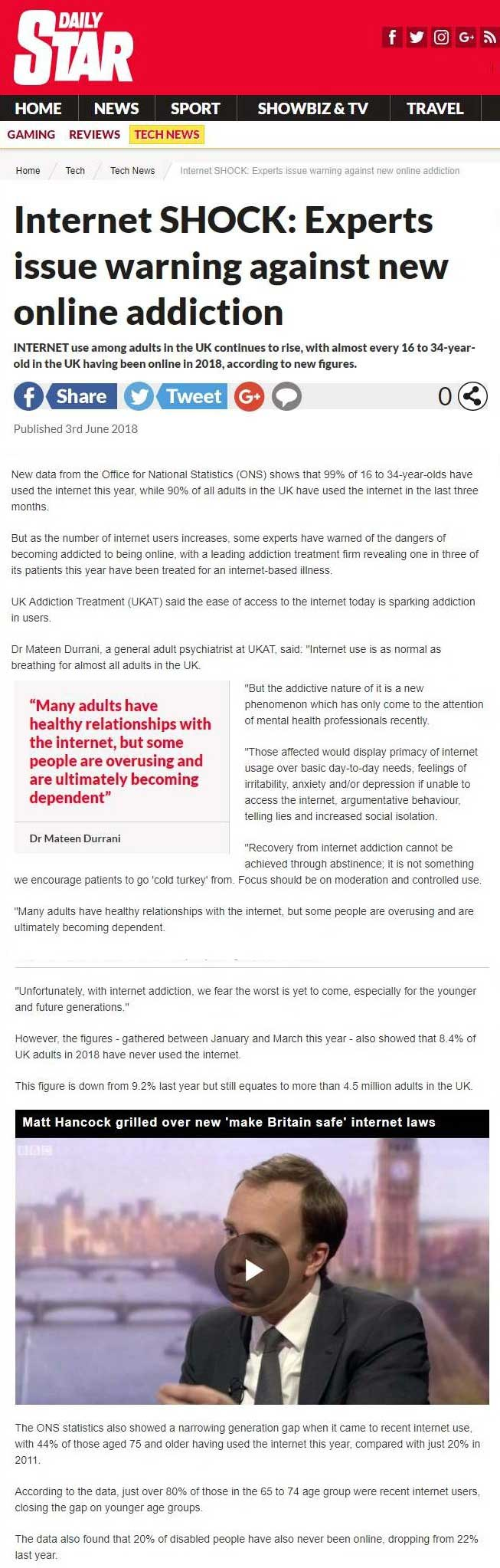 Daily Star - UKAT Experts Warn against Internet Addiction