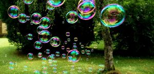 Bubbles Floating In Garden