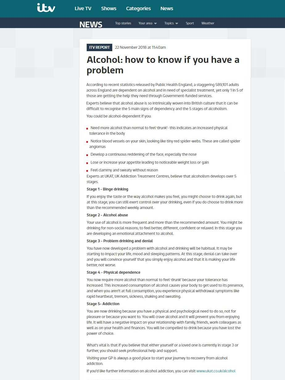 ITV - UKAT Experts - alcoholism develops over 5 stages