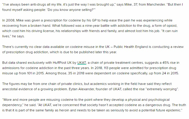HuffPost - UKAT Specialists on Codeine Addiction