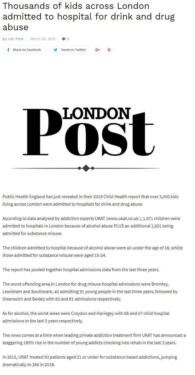 The London Post UKAT Reveals Scaring Statistics on Drug and Alcohol Abuse in Children