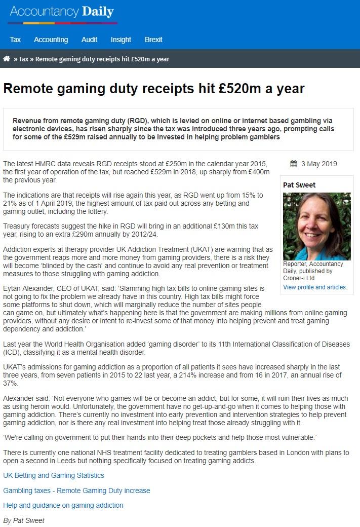 Accountancy Daily - UKAT Experts Say Slaming Tax Bills on Gambling Will not Help Fight Addiction