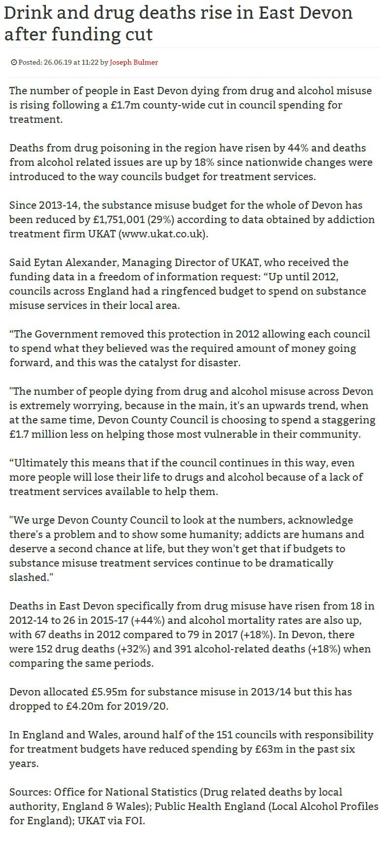 Exmouth News - UKATs Eytan Alexander on the Government Policies Regarding Addiction