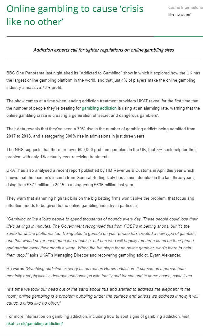 Casino International: UKAT Experts Call for Tighter Regulations on Online Gambling