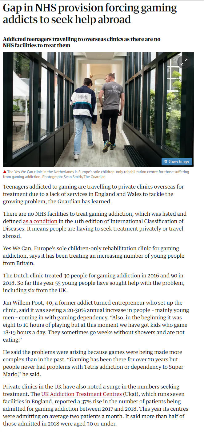 The Guardian: UKAT Reports 37 Precent Rise in Gaming Addiction Admissions
