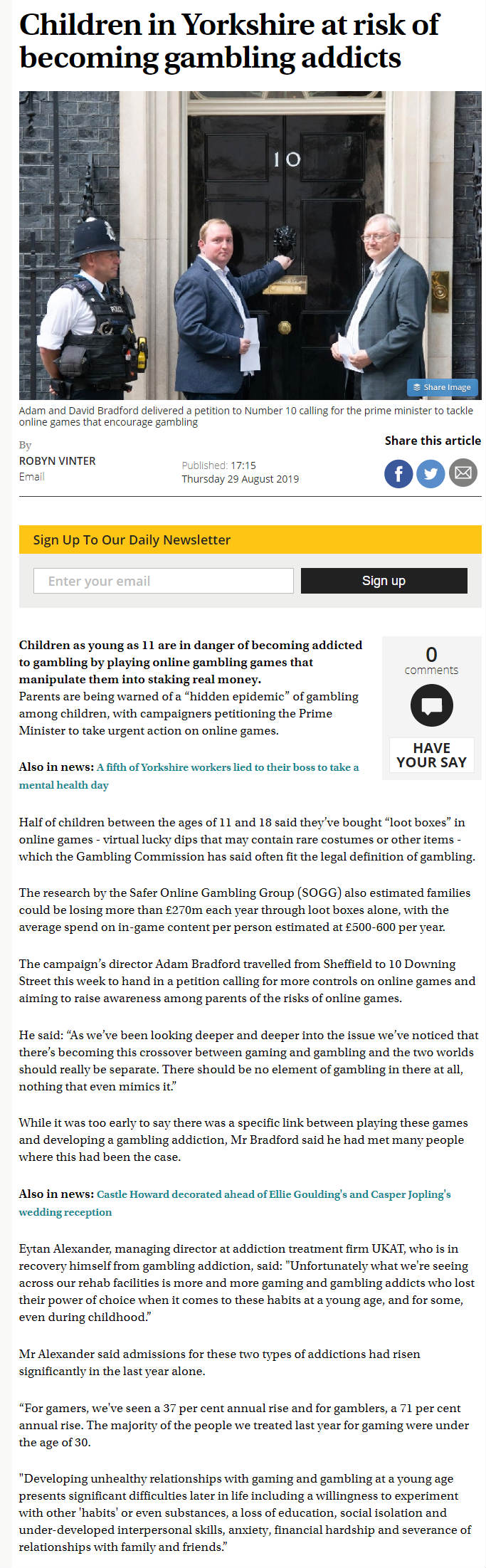 The Yorkshire Post: UKAT Founder Concerned over Gaming and Gambling Addiction Admission Rise