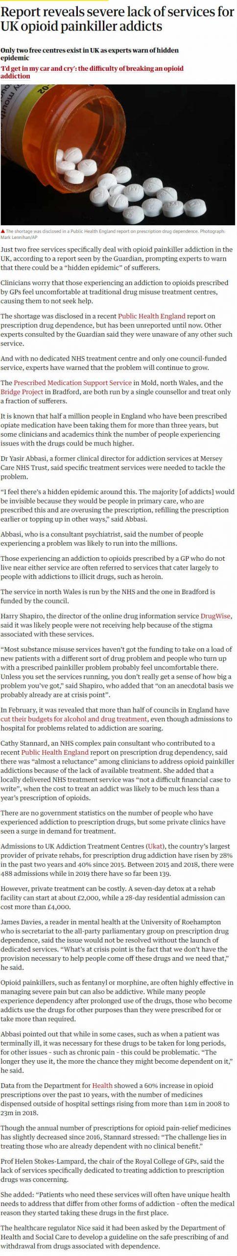 The Guardian - UKAT Records 28 per cent Rise in Prescription Addiction Admissions