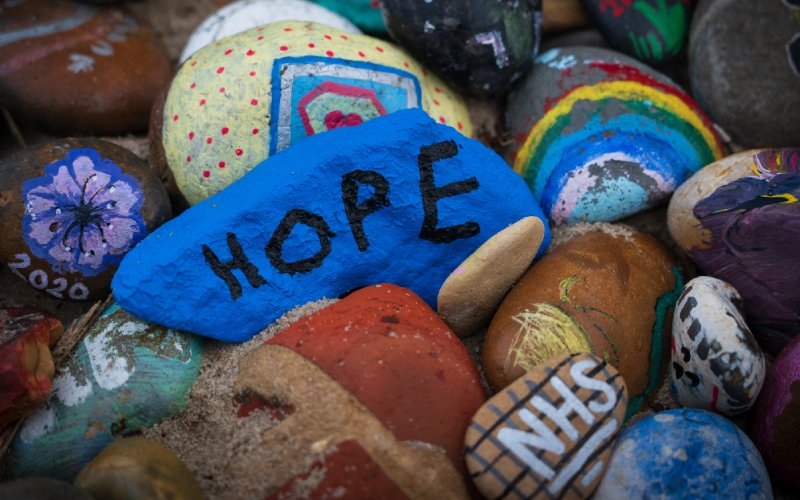 A photo showing the words Hope and NHS