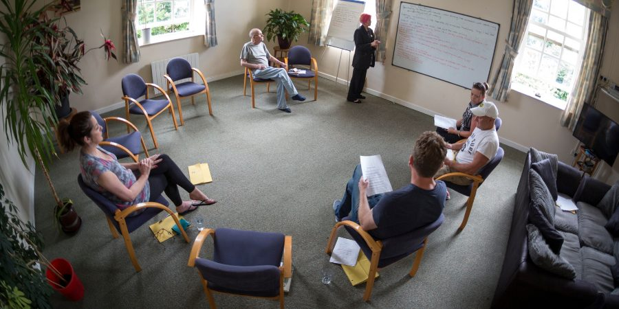 A group therapy session at Linwood House addiction centre